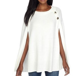 NWT crown & ivy Cape Sweater One Size Ivory